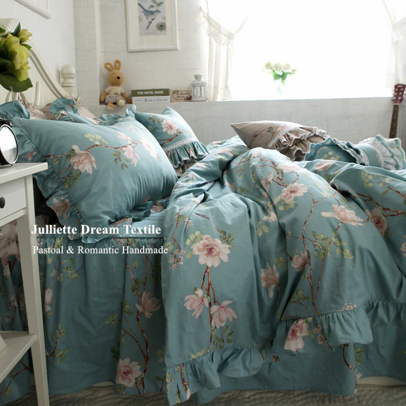 New European cotton bedding set pastoral print ruffle duvet cover romantic bed skirt quality beddings home textile bed covers New European cotton bedding set pastoral print ruffle duvet cover romantic bed skirt quality beddings home textile bed covers