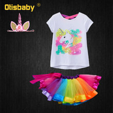 Summer Girl Rainbow Tutu Dress + Unicorn Print T-shirt Suit for Girls Baby Clothing Set Kids Unicorn Clothes Toddler Tracksuit