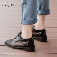 BYQDY Fashion Patent Leather Mesh Pumps Woman Summer Shoes Black Mid Heel Evening Dress Shoe escarpins sexy hauts talons