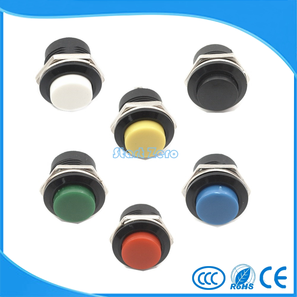 10pcs Momentary Push Button Switch 16mm Momentary pushbutton switches 6A/125VAC 3A/250VAC  Round Switch 5 x 3a 125vac no round type pushbutton switch refrigerator switch pbs 05 a