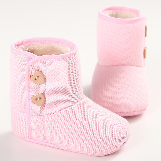 2016 Otoño Invierno 4 Colores de Algodón Inferior Suave Felpa Del Bebé Niños Bebé Zapatos Más Cálidas Botas Niñas Recién Nacidas