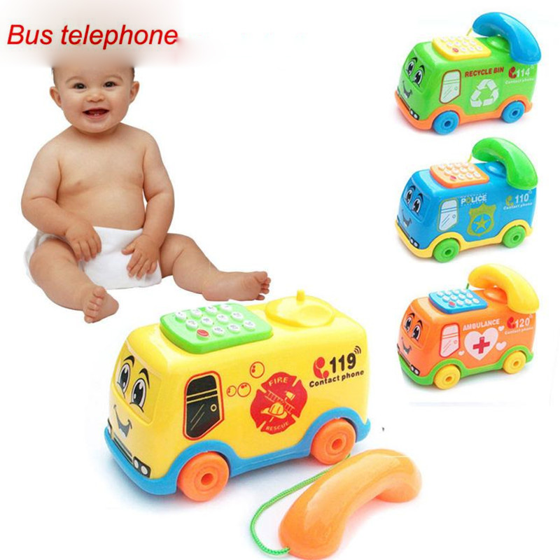 Kids Walkie Talkie Music Cartoon Bus Phone Toys Early Educational Developmental Kids Toy Baby Toy Gift For Children Wholesale