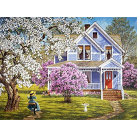Handmade Needlework Diy Diamond Painting Kit Diamond Embroidery Farm House Scenery Rhinestone Cross Stitch Wall Decoration