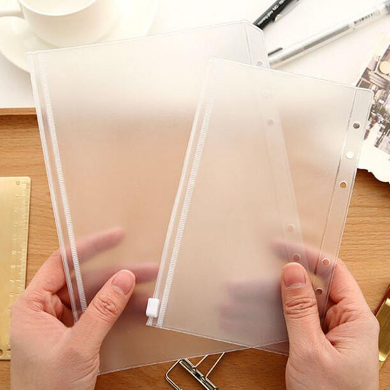 A5 / A6 PVC 6 Hole Loose-Leaf Folder Business Card Bag Loose-Leaf Notebook Zipper Bag Children Learning Folder Office Supplies
