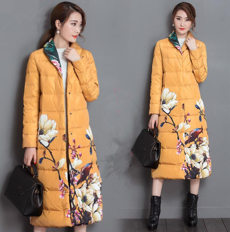2018 Winter women Print retro   Down     Coat   Jacket Long Warm Women's Fashion White duck   down   Parkas chaqueta invierno mujer w353
