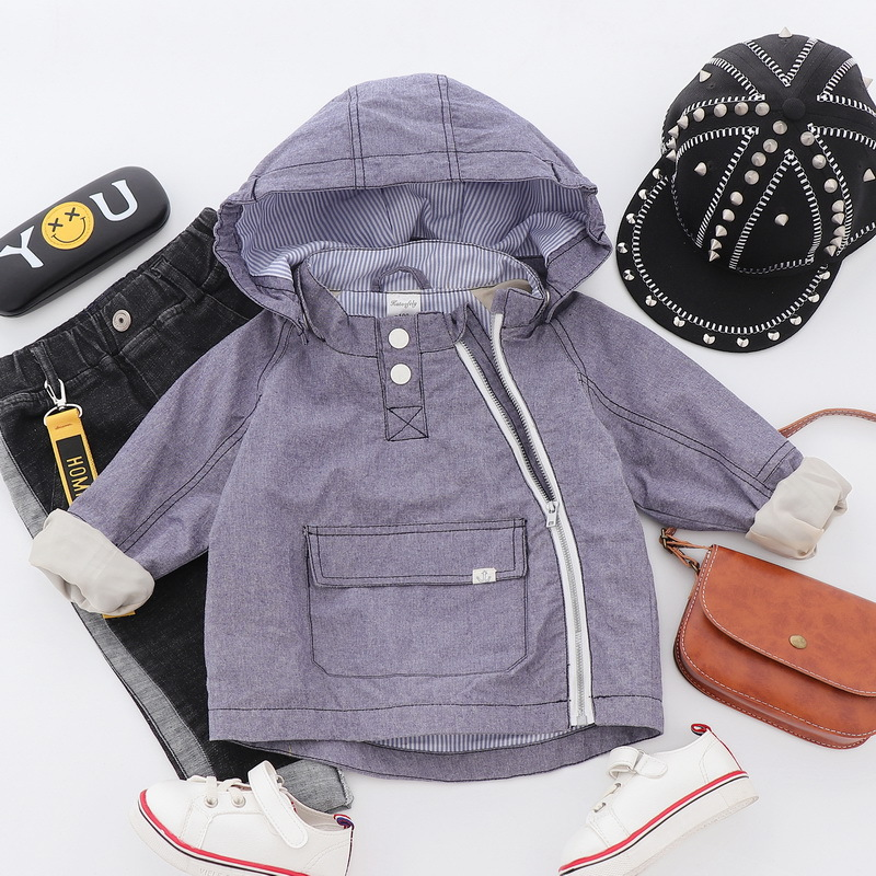 Windproof Waterproof Hooded Child Coat Baby Boys Jackets Children Outerwear Zipper Large Pocket For Height of 80-130cm