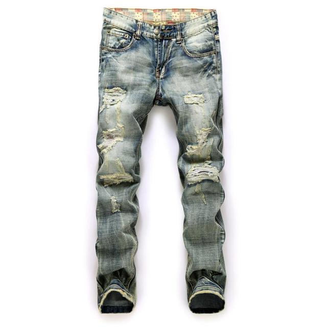 f02a71cdd2 Hombres jeans rasgados pantalones de mezclilla desgastados mecasual  nostálgico vaqueros rectos costura multi agujero jeans homme