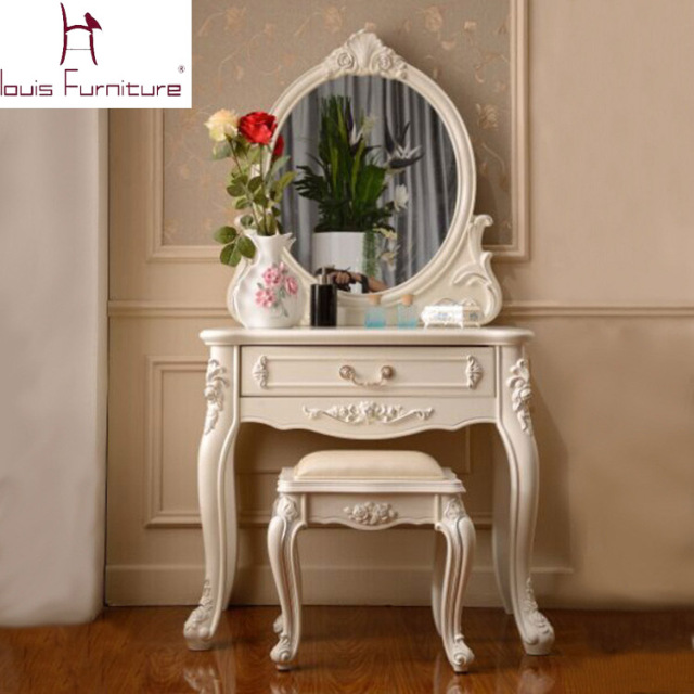 France style elegant bedroom furniture ivory dressing for Vanity table set