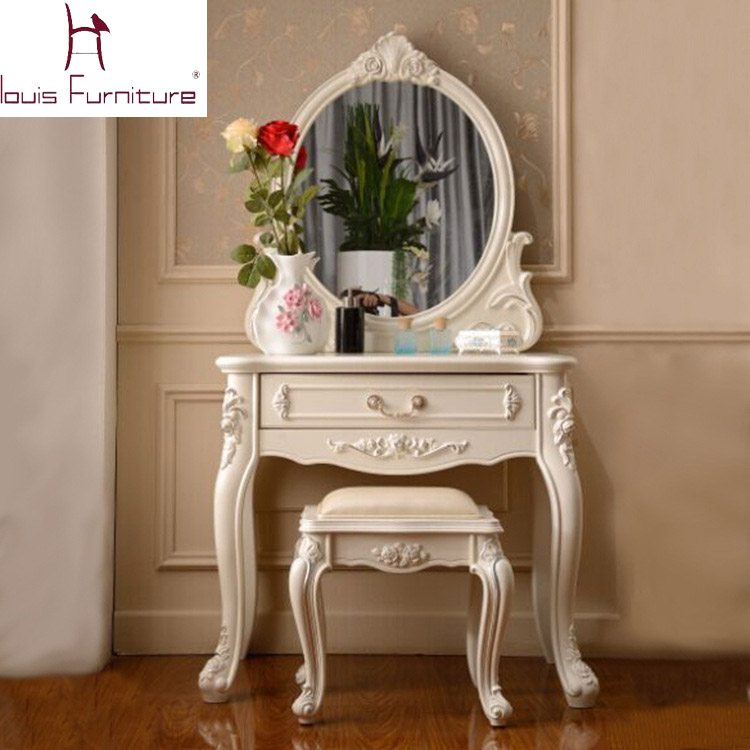 France Style Elegant Bedroom Furniture Ivory Dressing Table With Mirror Bench Vanity Set Dresser China