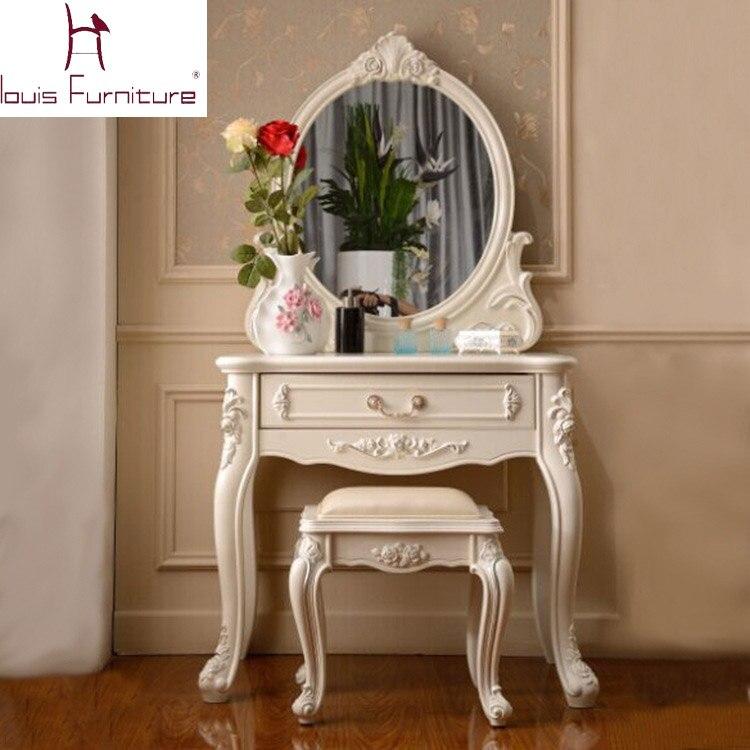 francia estilo elegante dormitorio muebles de marfil tocador con banco espejo sistema de la vanidad tocador