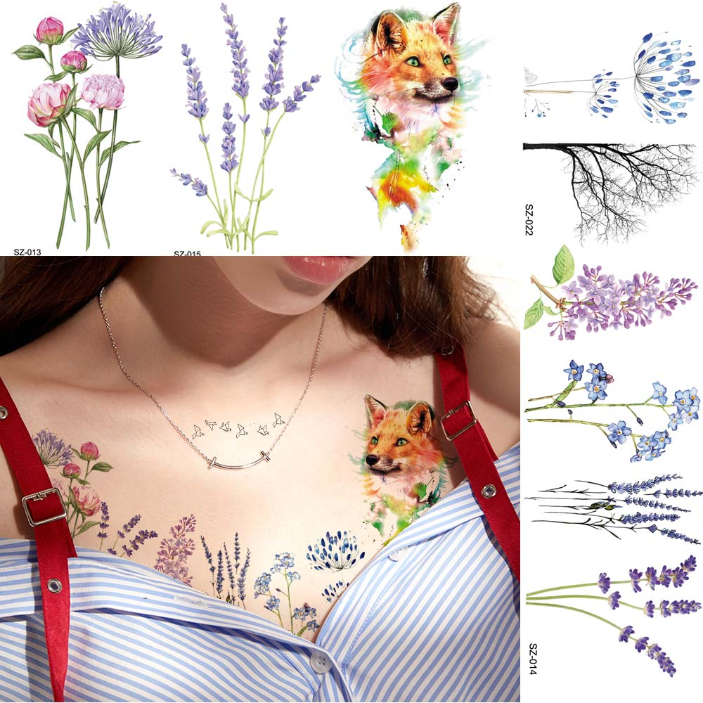 Watercolor Flower Floral Temporary Tattoo Stickers Women Body Chest Arm Flash Fake Tatoos Girls Blossom Small Reed Tattoo Decal