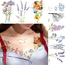 67e0c4915 Watercolor Flower Floral Temporary Tattoo Stickers Women Body Chest Arm  Flash Fake Tatoos Girls Blossom Small Reed Tattoo Decal