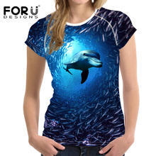 FORUDESIGNS Dolphin t shirt Women t-shirt 2018 Newest Ocean tee O Neck 3D T Funny Female Young Ladies Harajuku Style