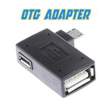 Portable 90 degree Left Angle Micro USB 2.0 OTG Converter Host Adapter Power for Android Smartphone For Samsung Xiaomi