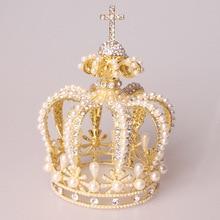High Quality Baroque Princess Tiara Crown Gold Silver Wedding Headpiece Rhinestone Pearl Bridal Hair Accessories Women Tiaras