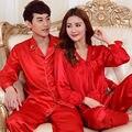Sexy vermelho de Cetim de Seda Amantes Sleepwear Homens e Mulheres Pijamas de Manga Longa Conjuntos de Pijama Casal Tops e Calças Roupa S1