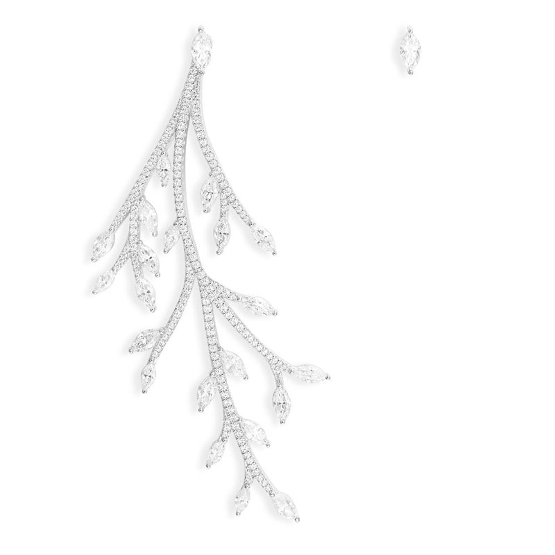 SLJELY 925 Sterling Silver Asymmetric Festival Statement Tree Branch Leaf AB Earrings Micro Zirconia Stones Women