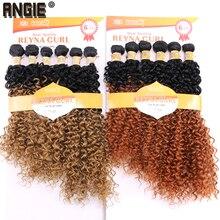 ANGIE Sentetik Kinky Kıvırcık Saç Demetleri Iki Ton Ombre Renk Saç Dokuma 16 18 20 Inç Karışık 1 Paketi Çözümü