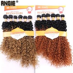 Image 1 - ANGIE Synthetische Kinky Krullend Haar Bundels Two Tone Ombre Kleur Haar Weave 16 18 20 inches Gemengde 1 pak Oplossing