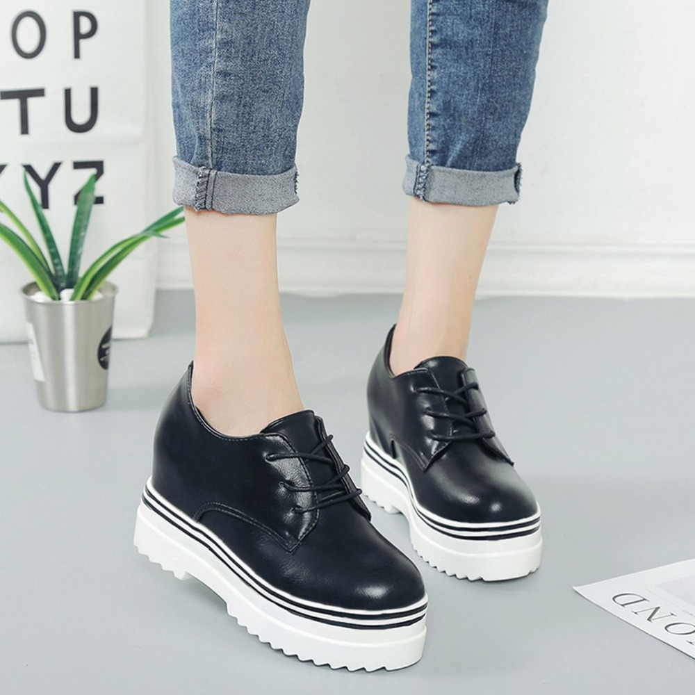 Classic Women Shoes Thick Soled Flatform Low-cut Flat Shoes Casual Durable PU Lace Up Shoes with 3.5cm Inside-heel for Womennew lace up flatform satin shoes