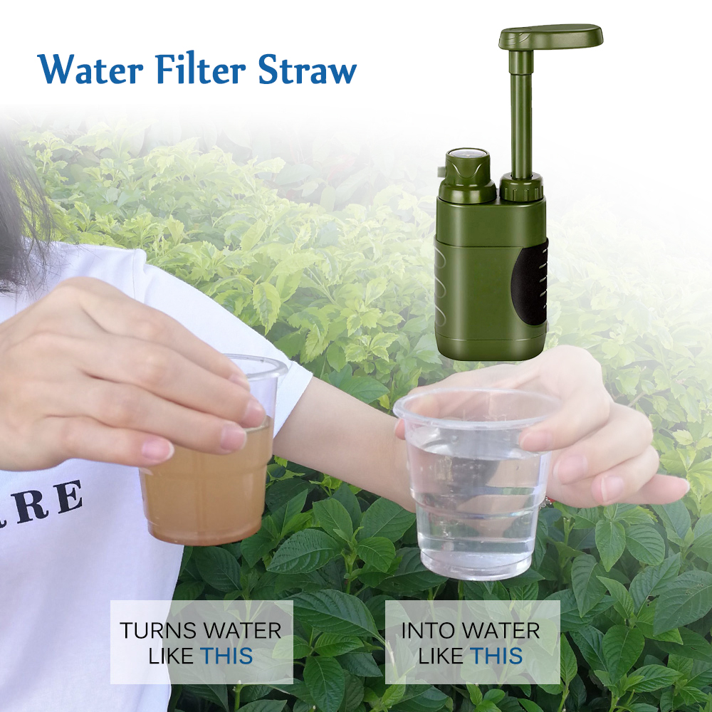 Outdoor Water Purifier Hiking Emergency Water Filter Straw Water Filtration System for Family Outdoor Camping Equipment