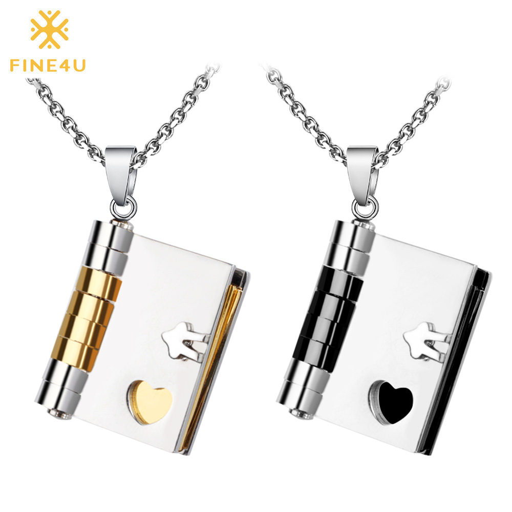 FINE4U N075 Couples Jewelry Necklaces 316L Stainless Steel Books Pendants Necklaces For Couple Valentine's Day Lovers Gifts