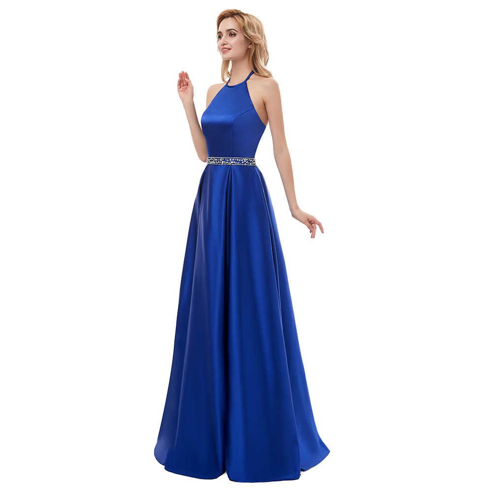 209427e0fe0 ... Пикантные Выпускные платья 2019 Холтер спинки бусины Кристалл вечерние  без вечерние рукавов Дешевые праздничное платье vestido