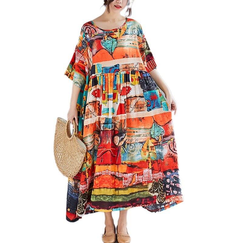 365f7bba9e9a9 DIMANAF grande taille femmes imprimer robe d'été robe d'été coton femme dame