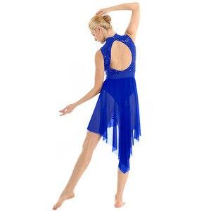 Image 4 - TiaoBug dorosłych Halter bez rękawów błyszczące cekiny gimnastyka trykot kobiety Tutu balet body łyżwiarstwo sukienka liryczne kostiumy do tańca