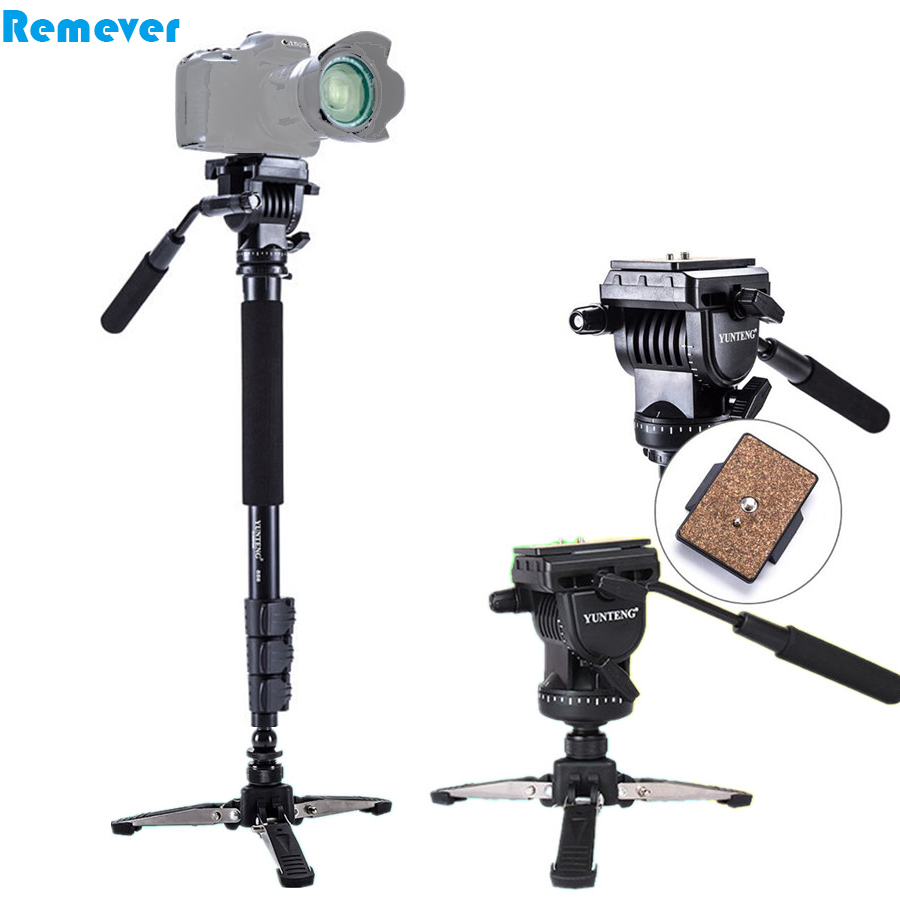 Professional Metal Monopod With 360 degree Panorama Hydraulic Pan-tilt Head+Mini Tripod For Canon Nikon DSLR Video Camcorders aluminum alloy professional monopod with mini tripod hydraulic pan tilt head for canon nikon dslr camera recording video