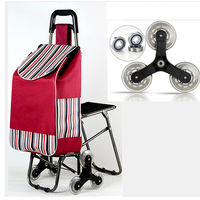 Three*2 wheel folding cart ladies or shopping cart/bags stainless steel wheel trolley cart large capacity portable home package
