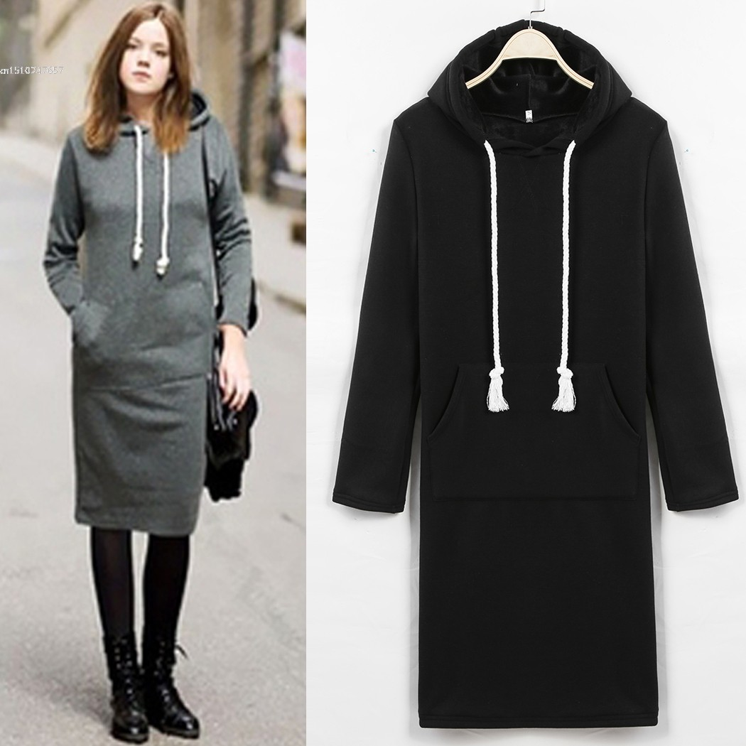 52ed4a2d04c2e New Women Long Sleeve Hooded Long Hoodie Kangaroo Pocket Package Hip Casual  Thick Tops