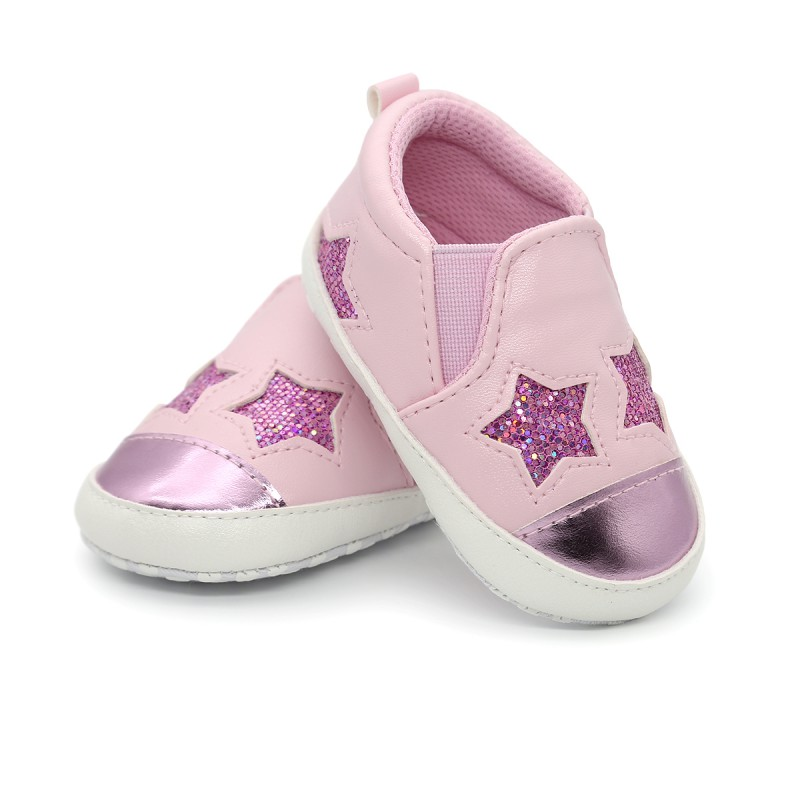Baby PU Leather Sequin Stars Pattern Autumn Shoes Baby Boys Girls Soft Sole First Walkers Plate Shoes