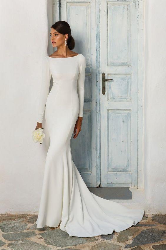 Wedding Dress Sleeves.Us 125 8 32 Off Elegant White Stain Mermaid Wedding Dresses Long Sleeves Bridal Gown Vestido De Noiva Sweep Brush Train Wedding Gown In Wedding