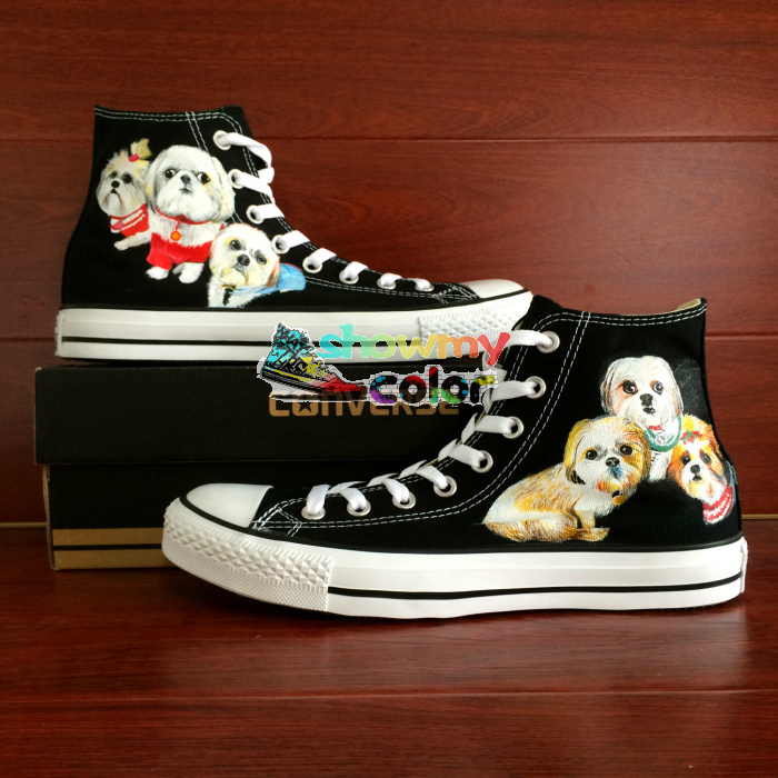 Man Woman Converse Chuck Taylor Men Women Shoes Dog Original Design Custom Hand Painted Shoes Black Skateboarding Shoes