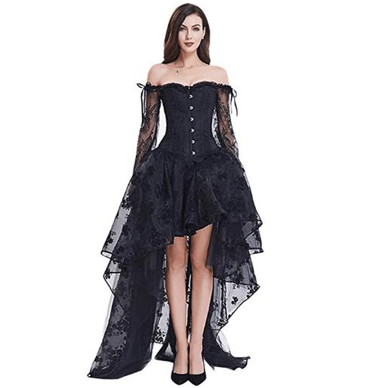 117469fda95 Femmes Nouveau Steampunk robe corset jupe sirène Vintage Désossé En Acier Brocade  Bustier serre-taille