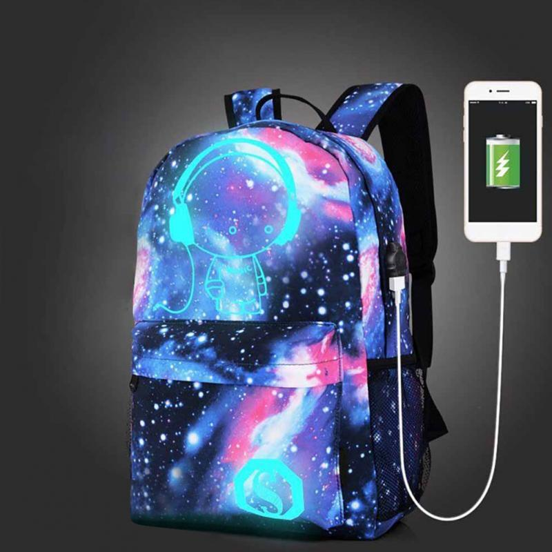Star Luminous Canvas Backpack With USB Charging Students Backpacks With Anti-Theft Lock & Pencil Case School Backbag #25