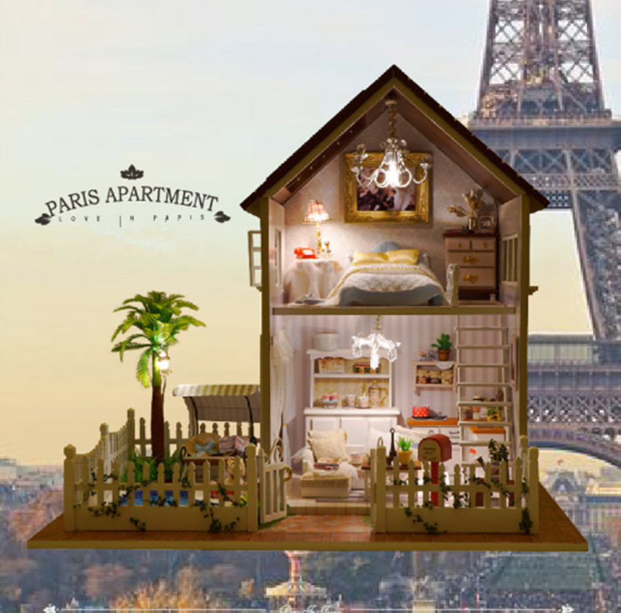 Pastoral families house miniature diy dollhous paris apartment assembled toys for kids birthday gifts juguetes brinquedos in doll houses from toys hobbies