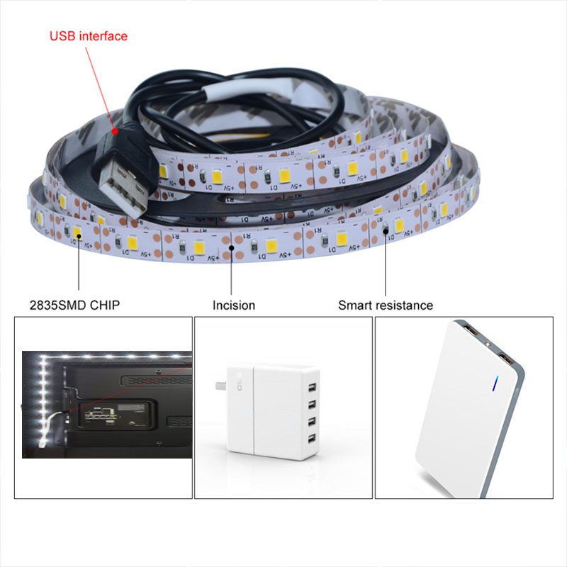 LED Night Lights USB TV Computer Decor Backlight Led Tape 0.5m 1m 2m 3m 4m 5m LED Kids Bedroom Night Lamp For Adults Children