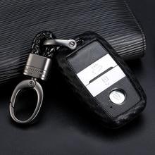 For Kia Forte Niro Optima Sedona Sorento Soul Sportage Remote Cover 1pcs Carbon Fiber Pattern Silicone Car Key Case Keychain