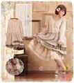 Japanese Style Lolita Kawaii National Trend Peter Pan Collar Long Sleeve Vintage Retro Dress Loose Casual Vestidos Longos #16740