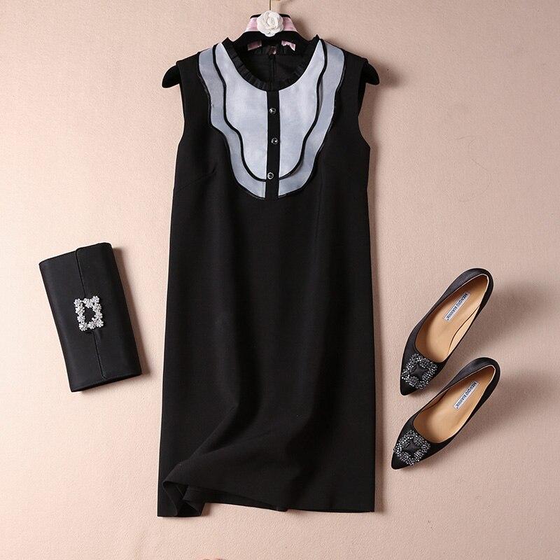 Femmes filles mignon volants avant robe sans manches mini robes d'été 2019 nouveau haute qualité noir