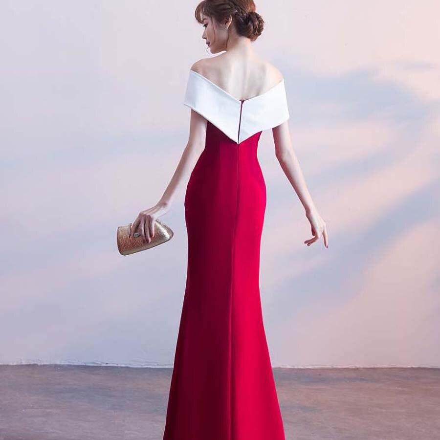 Queue de poisson couleur bloc robe haute fente formelle robe femmes élégante moulante robe hors épaule Jurken longue robe élégante 70j018