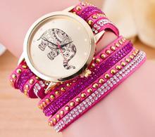 Hot Sale Black Leather Fashion Women Watch Elephant Velvet Multi Layered Bracelet Watches For Women Quartz Rhinestone Wristwatch