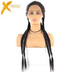 Senegalese Twist Synthetische Braid Haar Spitze Perücken Drei Teil X-TRESS Lange Gerade Ohr Zu Ohr Spitze Vorne Perücke Mit Natürlichen haaransatz