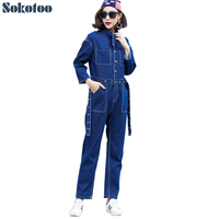 Sokotoo المرأة العنق أزرار الأزرق الدينيم حللا أزياء الهيب هوب الجينز وزرة