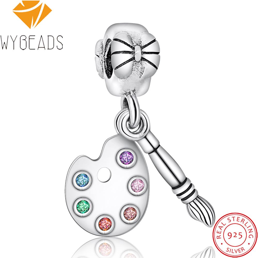 WYBEADS 925 Sterling Silver Charm Brush Crystal Charms Pendant European Bead Fit Snake Chain Bracelet DIY Accessories Jewelry