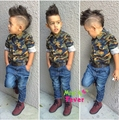 Handsome Children's clothing sets for spring/autumn camouflage child Suits boy's suit set Kids long sleeve shirts+jeans f1736