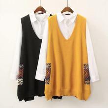 Большие размеры, Осенние цветные женские топы с высоким воротом и высокой талией, кружевной лоскутный свитер