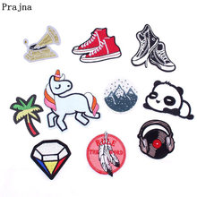 Prajna Cute Unicorn Feather Panda Patch Anime Shoes Cartoon Iron On Patches Stickers Kids Embroidered Patches For Clothes Jacket(China)